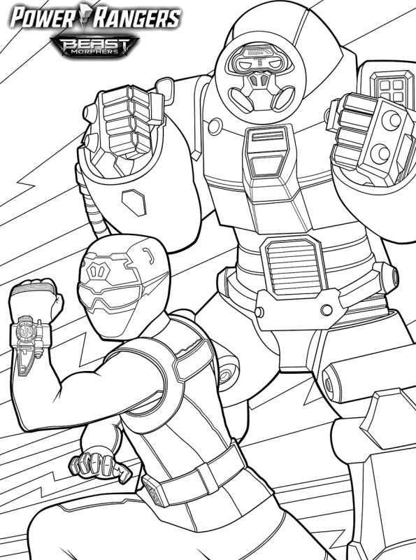 n coloring page power rangers beast
