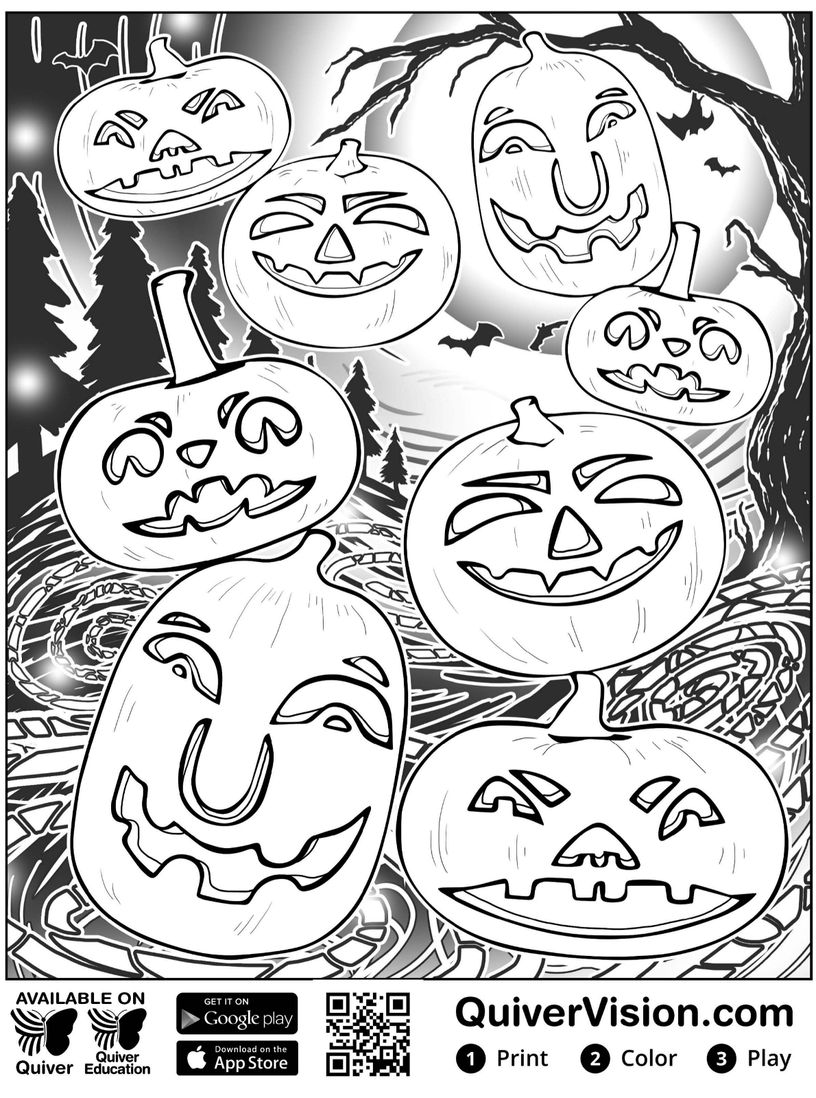 Kids n fun.com   Coloring page Quiver halloween