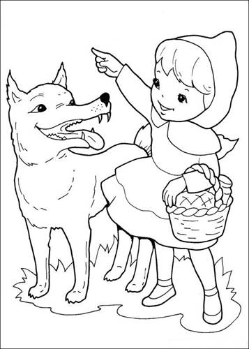 Little Red Riding Hood Colouring Pages English/Italian | 500x357