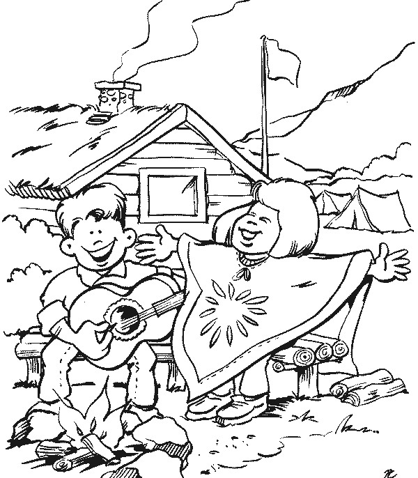 coloring pages - Girl Scout Camping Coloring Pages
