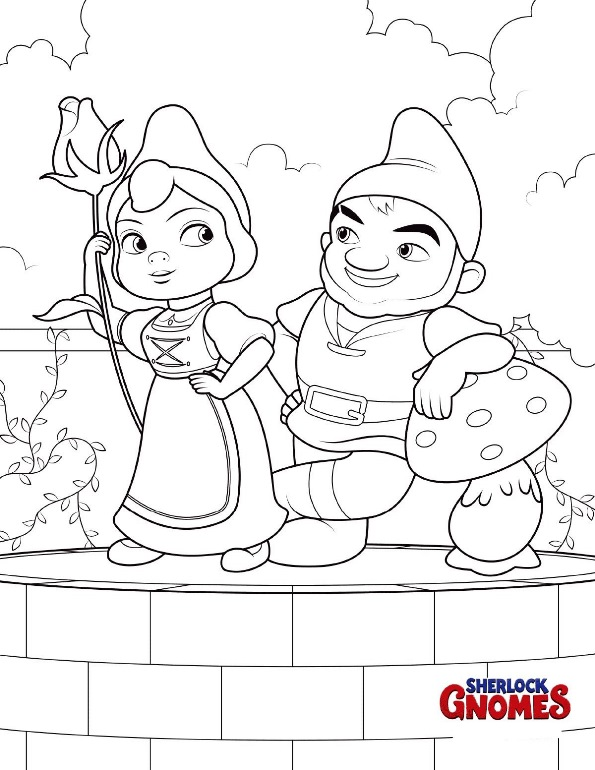 Kids n 8 coloring pages of sherlock gnomes for Coloring pages gnomes