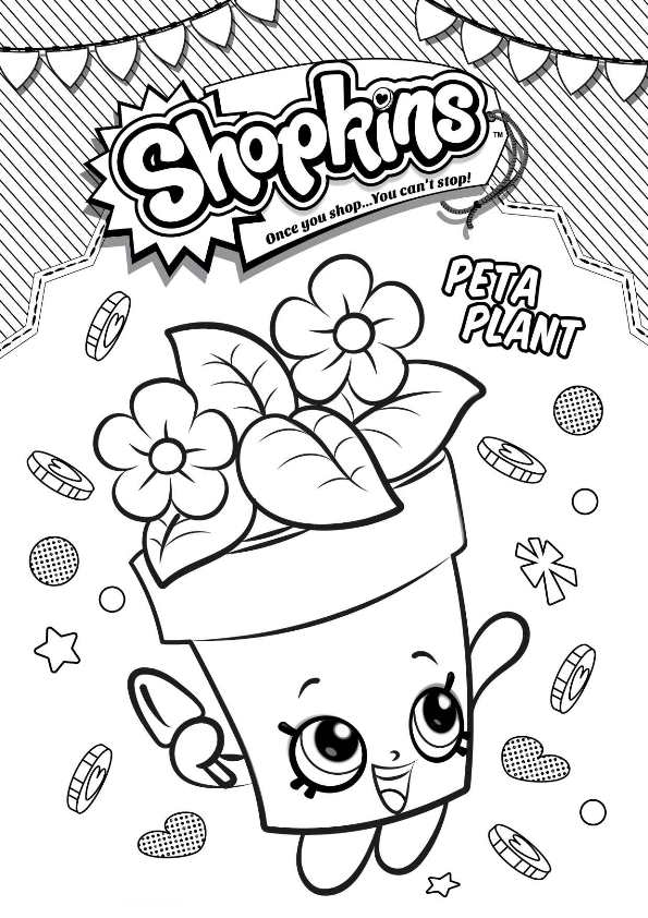 Kids N Fun Com Coloring Page Shopkins Peta Plant