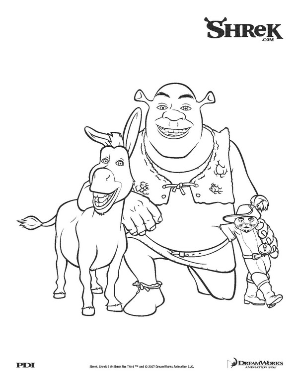 Kids n funcom 18 coloring pages of Shrek 3
