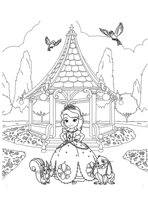 Kids N Funcom Coloring Page Sofia The First Sofia In The Garden