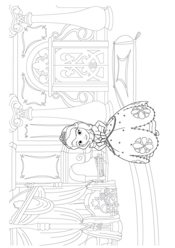 Kids N Fun Co Uk Coloring Page Sofia The First Sofia In Her Room