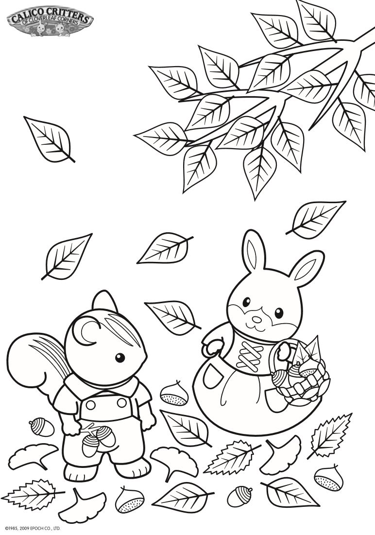Kidsnfun 17 coloring pages of Calico Critters