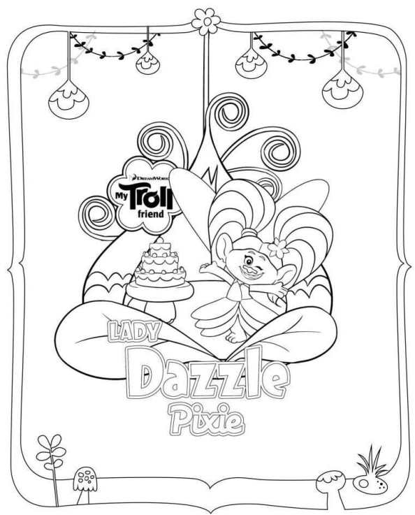 Kids n 26 coloring pages of trolls for Trolls smidge coloring page