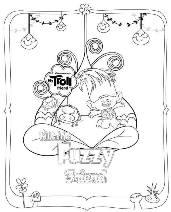 trolls fuzzy - Trolls Coloring Pages