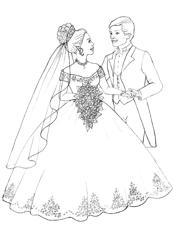 Kids n 34 coloring pages of marry and weddings for Coloring pages wedding