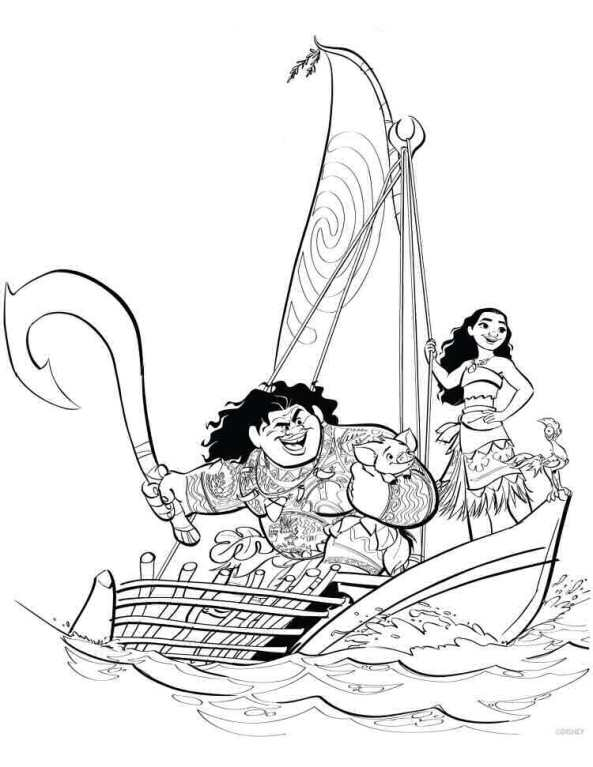 Adventure With Sailing Boat On Summertime Coloring Page - Download ... | 767x593