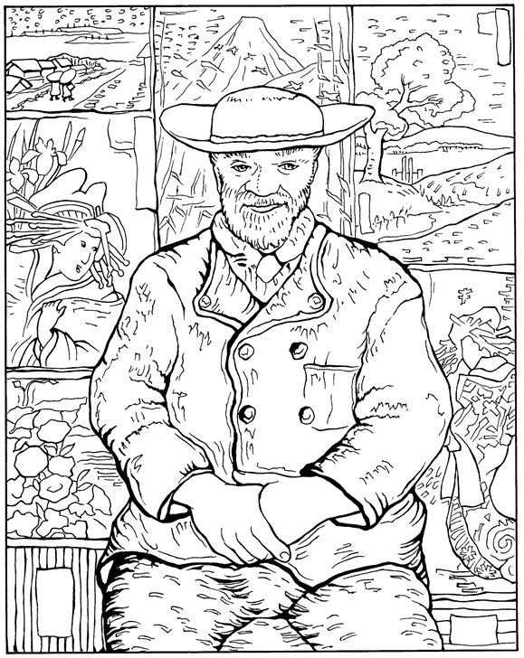Kids N Fun Com 30 Coloring Pages Of Vincent Van Gogh