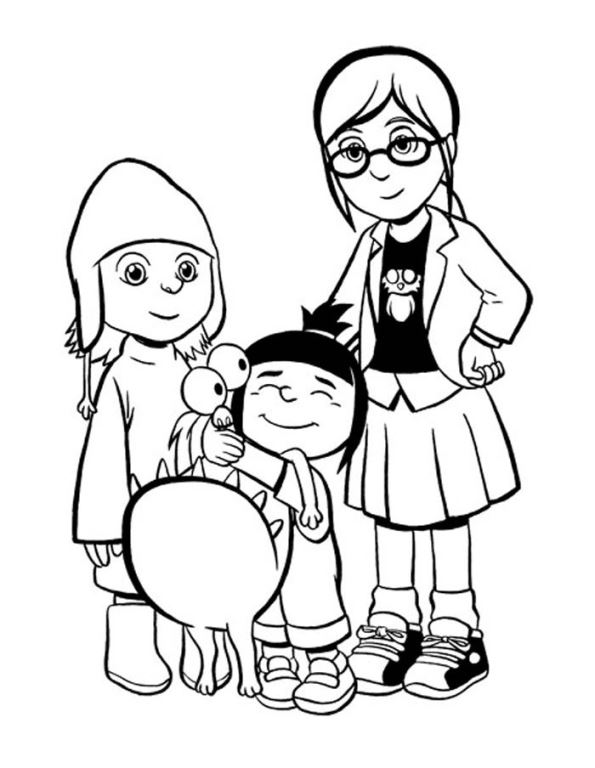 Kids-n-fun.co.uk | Coloring page Despicable me margo-agnes-edith-kyle