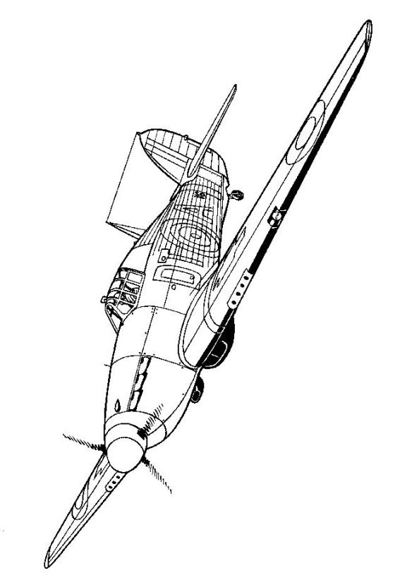 kids n fun 46 coloring pages of wwii aircrafts Drawing Aircraft 1940s kawker hurricane 1940