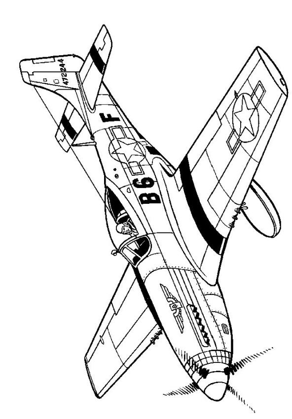 kids n fun 46 coloring pages of wwii aircrafts 1940 Aviation Clothing p51d mustang 1941