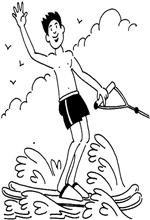 kids n fun 9 coloring pages of water skiing. Black Bedroom Furniture Sets. Home Design Ideas