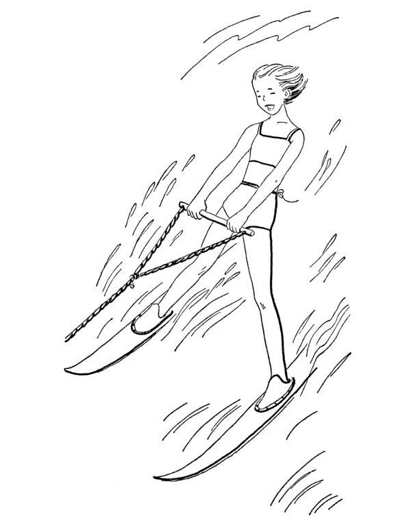 Kidsnfun 9 coloring pages of Water skiing