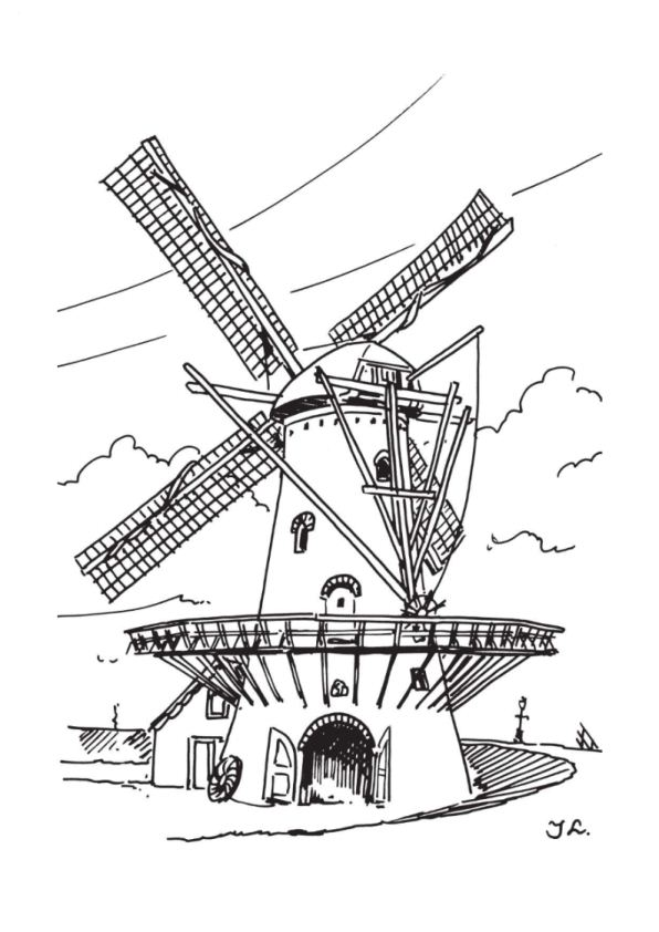 free coloring pages dutch windmill - photo#7