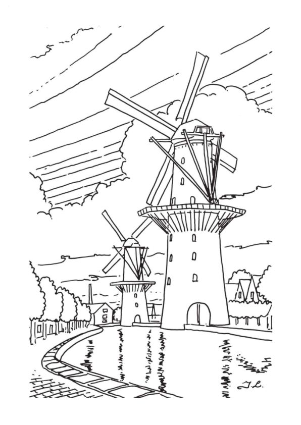 dutch windmill coloring pages - photo#18